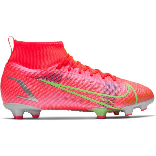 Nike Mercurial Superfly 8 Pro FG Youth Soccer Cleats (Bright Crimson/Metallic Silver)