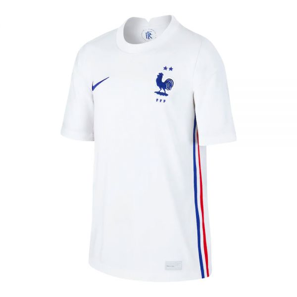 Nike France '20-'21 Stadium Away Youth Soccer Jersey (White/Concord)