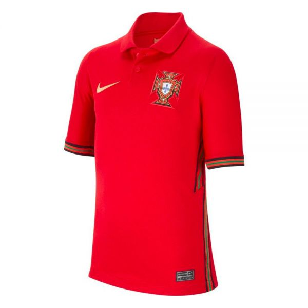 Nike Portugal '20-'21 Stadium Home Youth Soccer Jersey (Gym Red/Metallic Gold)