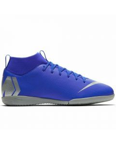 Nike Youth SuperflyX 6 Academy IC Indoor Soccer Shoes (Racer Blue/Metallic Silver/Black/Volt)