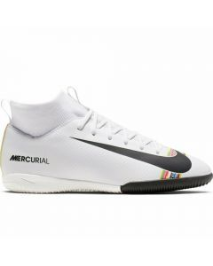 Nike Youth SuperflyX 6 Academy IC Indoor Soccer Shoes (White/Black/Pure Platinum)