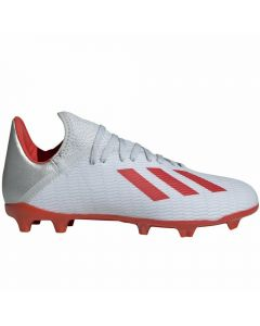 Adidas X 19.3 Youth FG Soccer Cleats (Silver Metallic/Hi-Res Red/White)