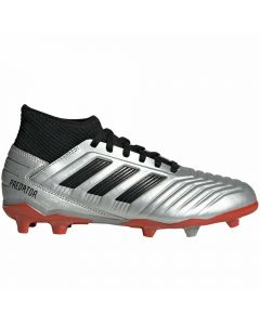 Adidas Predator 19.3 Youth FG Soccer Cleats (Silver Metallic/Core Black/Hi-Res Red)