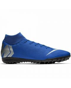 Nike Youth SuperflyX 6 Academy TF Turf Soccer Shoes (Racer Blue/Metallic Silver/Black/Volt)