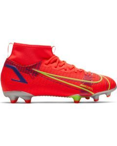 Nike Mercurial Superfly 8 Academy MG Youth Soccer Cleats (Bright Crimson/Metallic Silver)