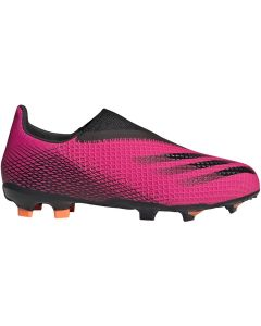 Adidas X Ghosted.3 Laceless Youth FG Soccer Cleats (Shock Pink/Core Black/Screaming Orange)