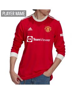 Adidas Manchester United Home Long Sleeve Soccer Jersey '21-'22 (Real Red)