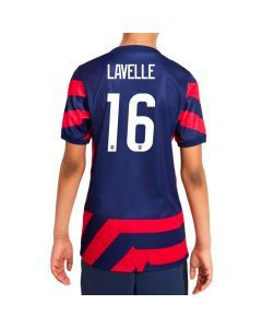 Nike USA Away 4-Star 'LAVELLE 16' Youth Soccer Jersey '21–'22 (Loyal Blue/Speed Red/White)