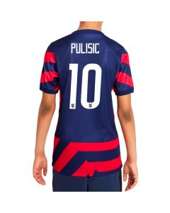 Nike USA Away 4-Star 'PULISIC 10' Youth Soccer Jersey '21–'22 (Loyal Blue/Speed Red/White)
